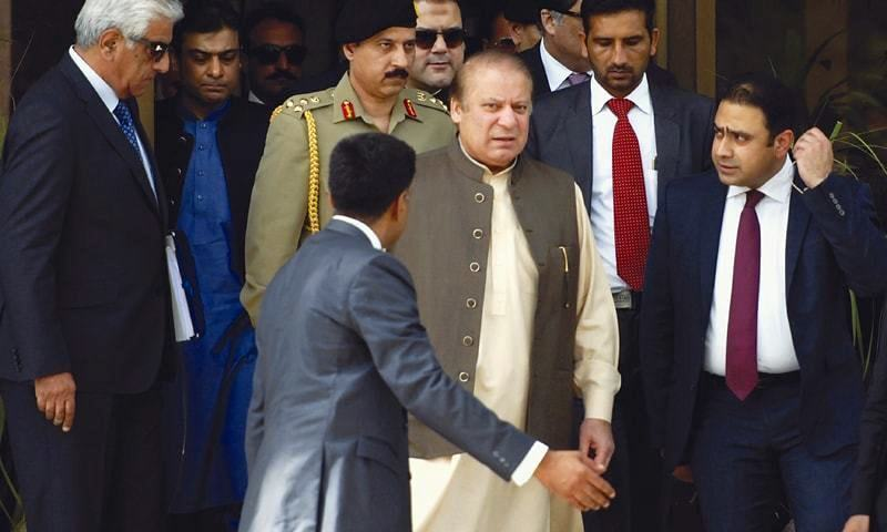 Nawaz Sharif leaves the JIT's offices in the Federal Judicial Academy after his appearance before the investigators. — File