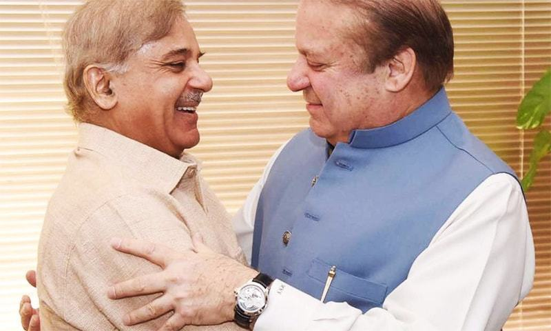 Prime Minister Nawaz Sharif (right) and Punjab Chief Minister Shahbaz Sharif (left) embrace after the Supreme Court announced its verdict in the Panama Papers case. Photo: File