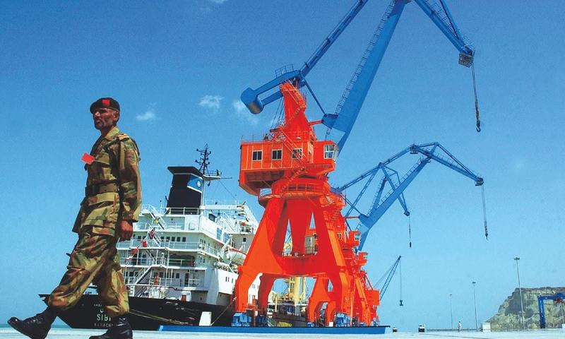 A guard keeps watch at Gwadar Port, Balochistan.— AP