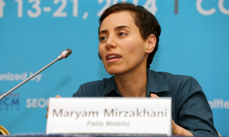 Maryam Mirzakhani, a Harvard educated mathematician and professor at Stanford University in California, during a press conference after the awards ceremony for the Fields Medals at the International Congress of Mathematicians 2014 in Seoul on August 13, 2014.  Mirzakhani, an Iranian-born math whiz and the first woman to win the Fields Medal - the Nobel Prize for mathematics - has died in a US hospital after a battle with cancer on July 15, 2017. She was 40. / AFP PHOTO / The Seoul ICM 2014 / STR — A1SHOT_PJH
