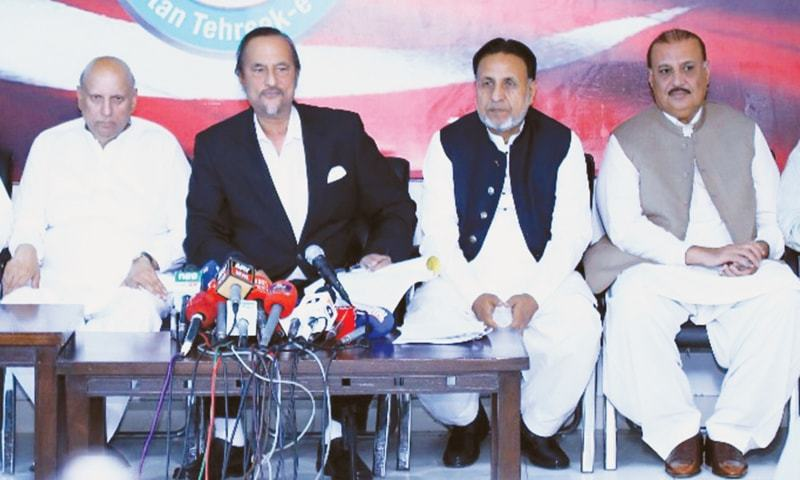 LAHORE: Pakistan Tehreek-i-Insaf leaders Babar Awan, Mian Mahmoodur Rasheed, Chaudhry Sarwar and Raja Riaz address a press conference on Saturday.—Online
