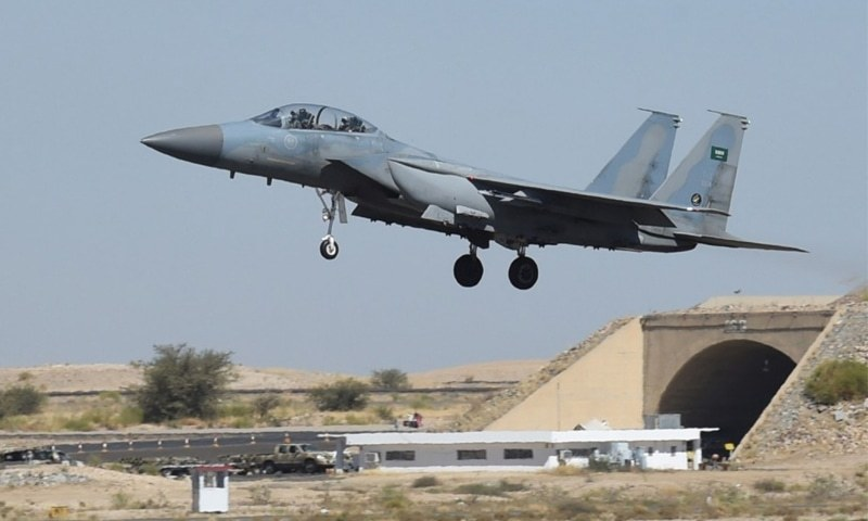A Saudi F-15 fighter jet lands at the Khamis Mushayt military air base in 2015 as the Saudi army conducts operations over Yemen. | AFP
