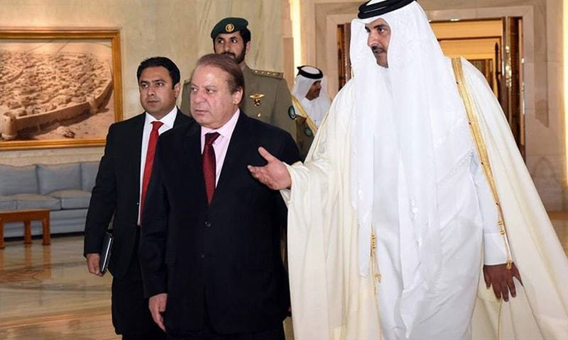 Nawaz Sharif with Emir Al-Thani in Qatar on a two-day visit