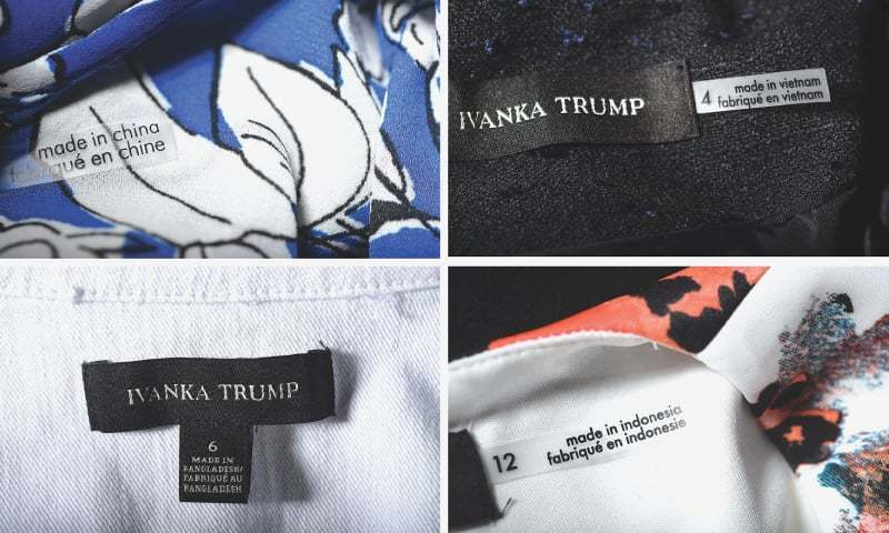 Among items in Ivanka Trump's clothing line are, clockwise from top left, a blouse made in China, a suit jacket made in Vietnam, a dress made in Indonesia and a denim jacket made in Bangladesh.─Washington Post