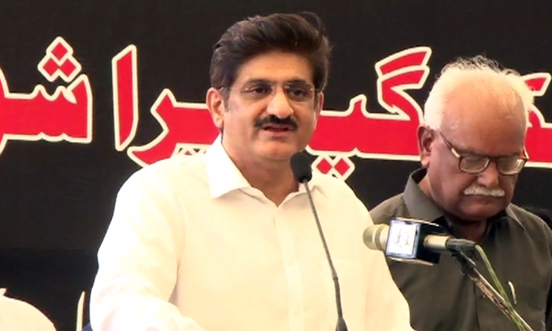 Sindh Chief Minsiter Murad Ali Shah speaks at a rally in Karachi earlier this year.─DawnNews/File