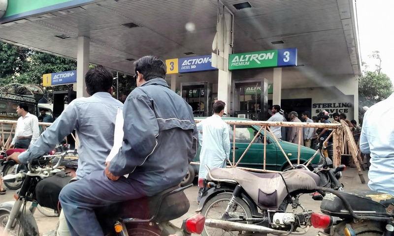 Big crowds of motorists witnessed at filling stations since morning. —Farwa Naqvi