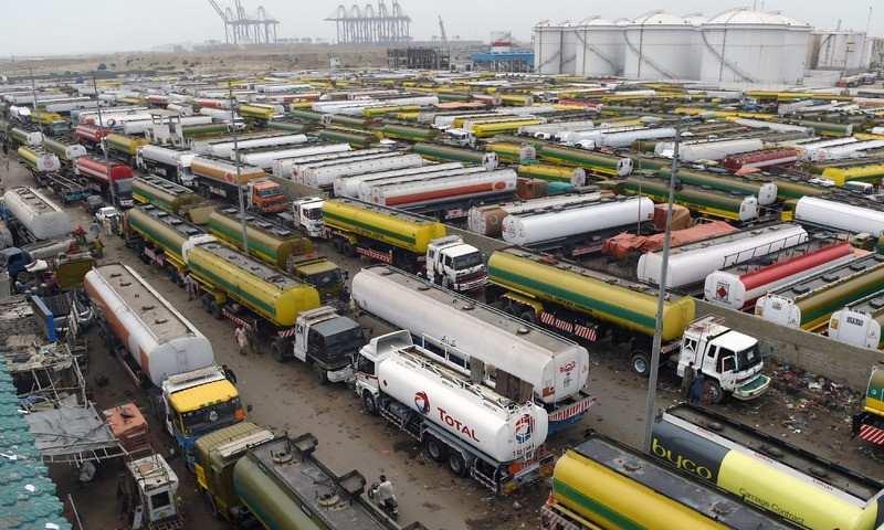 Oil tankers park in a terminal near Karachi port amid a countrywide strike by the All Pakistan Oil Tankers Association. — AFP