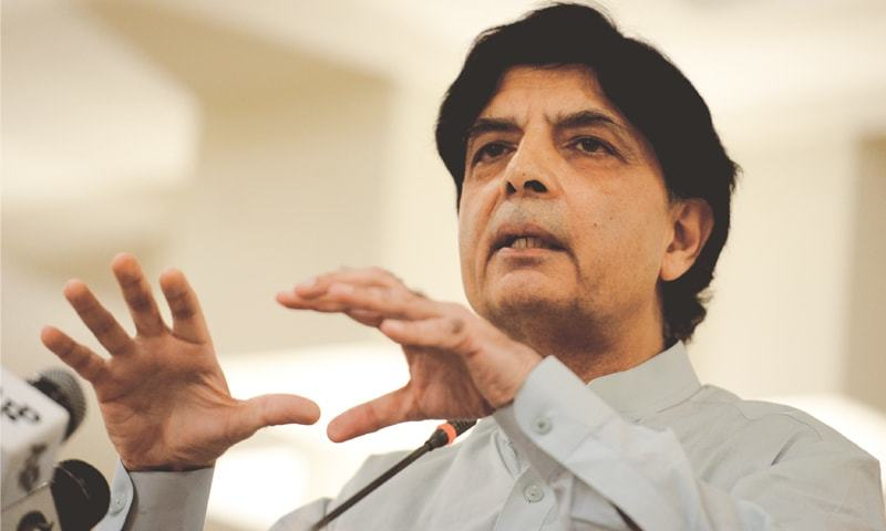 Interior Minister Chaudhry Nisar speaks at a press conference at Punjab House on Thursday.—White Star