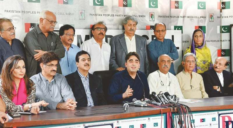 BILAWAL Bhutto-Zardari, accompanied by the PPP high command, speaks at Bilawal House on Friday.—PPI