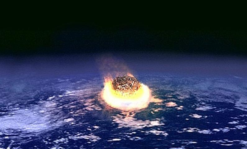 سیارچے کے ٹکرانے کا تصوراتی منظر — فوٹو بشکریہ وکی پیڈیا