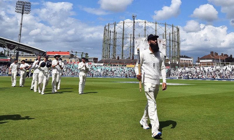 England's Moeen Ali carries a stump as he leaves the pitch on the final day of the third Test match between England and South Africa at The Oval cricket ground in London on July 31, 2017. Moeen Ali's hat-trick saw England complete a 239-run win against South Africa in the third Test at The Oval on Monday. Victory saw England go 2-1 up in this four-match series with just the fourth Test at Old Trafford starting on Friday to come.  / AFP PHOTO / Glyn KIRK / RESTRICTED TO EDITORIAL USE. NO ASSOCIATION WITH DIRECT COMPETITOR OF SPONSOR, PARTNER, OR SUPPLIER OF THE ECB — AFP or licensors