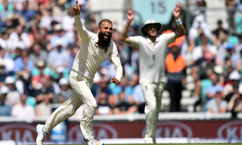Moeen Ali celebrates the wicket of South Africa's Chris Morris for 24 on the final day of the third Test. —AFP