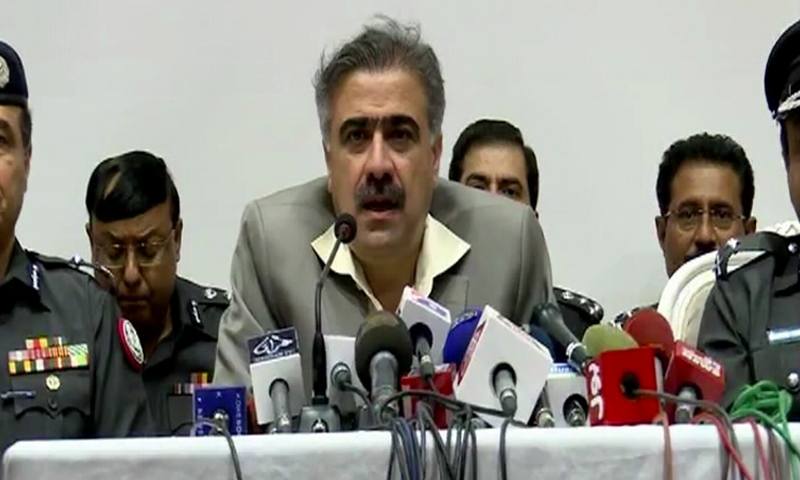 Sindh Home Minister Sohail Anwar Sial addressed a press conference after chairing a high-level meeting on July 28. — DawnNews