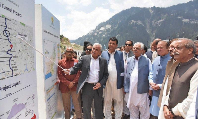 Former prime minister Nawaz Sharif being briefed about Lowari Tunnel. — File photo