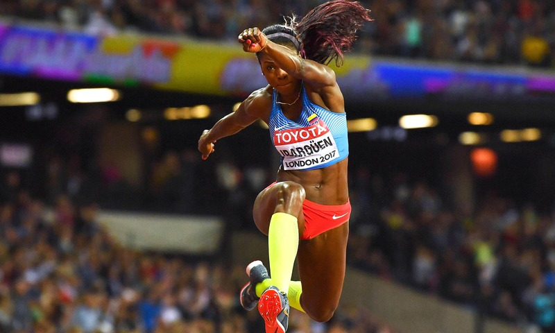 Colombia's Caterine Ibarguen competes in the final of the women's triple jump athletics event at the 2017 IAAF World Championships in London. — AFP
