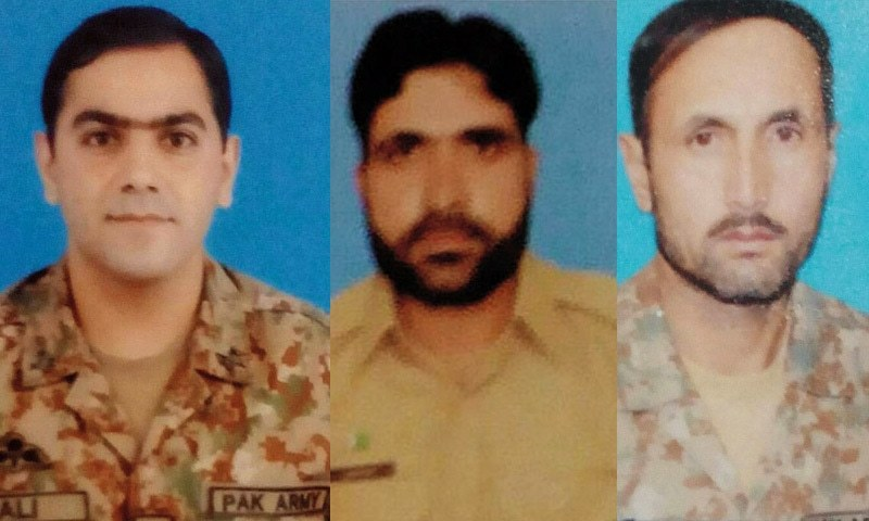 (L-R) Maj Ali Salman, Havaldar Akhtar and Havaldar Ghulam Nazir who were martyred during the counter-terror operation.— ISPR