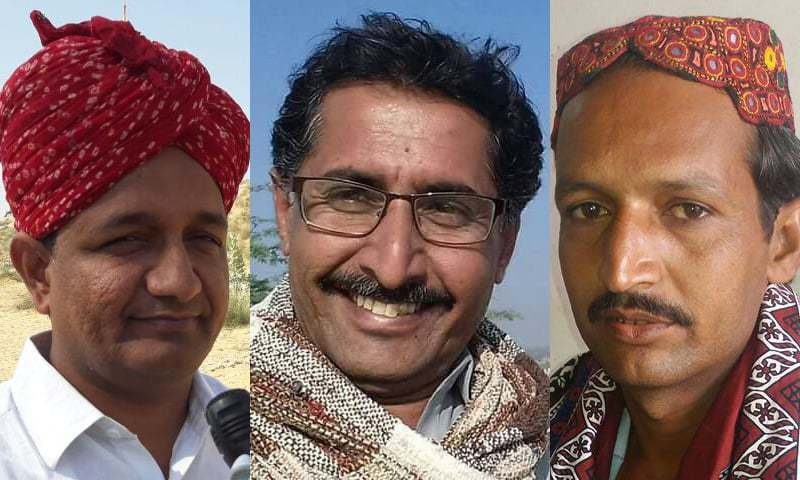 Educationalist and rights activist Partab Shivani (L), writer Naseer Kumbhar (C) and Jeay Sindh Qaumi Mahaz leader Mohammad Umer (R) were allegedly picked up by law enforcement and police personnel on August 8. — Photo courtesy: Facebook and Twitter