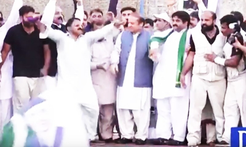 Unable to keep a lid on his emotions, one of Nawaz Sharif's supporters breaks into a spontaneous dance. Photo:Screengrab