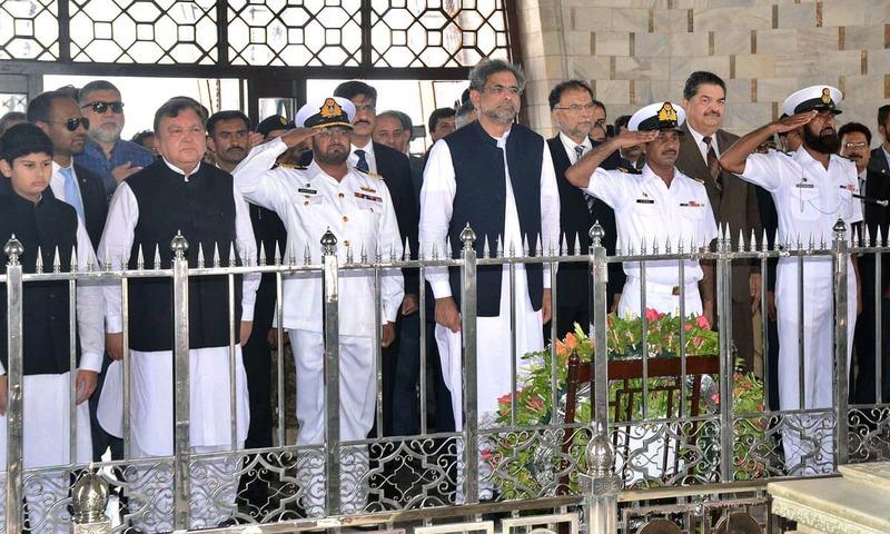 Prime Minister Shahid Khaqan Abbasi visits mausoleum of Quaid-i-Azam Mohammad Ali Jinnah. —APP