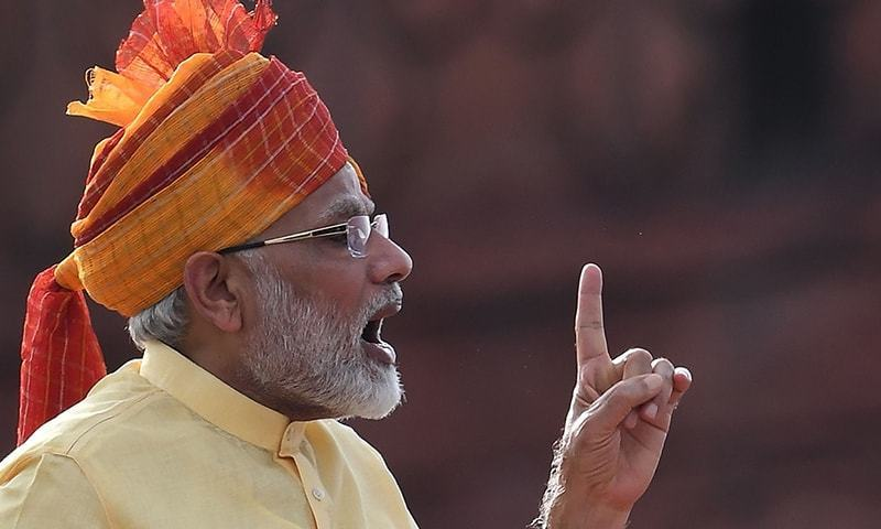 Indian Prime Minister Narendra Modi delivers his address during the country's 71st Independence Day celebrations, which marks the 70th anniversary of the end of British colonial rule, at the historic Red Fort in New Delhi.─AFP