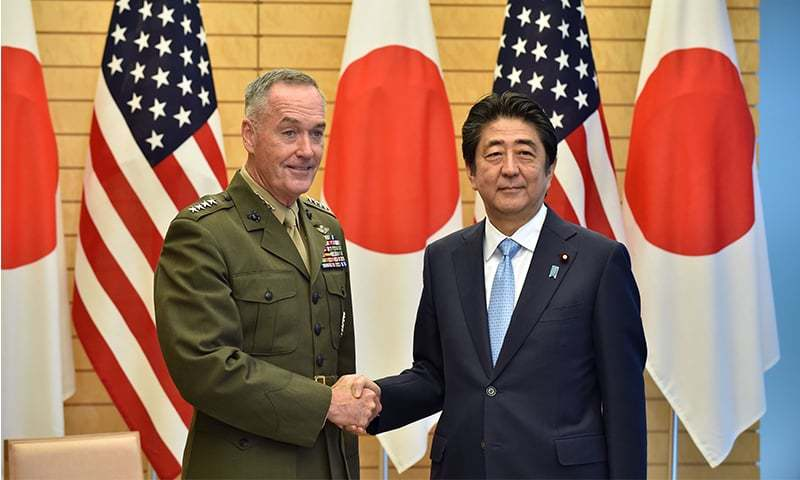 Abe, US military chief vow to bolster defense together