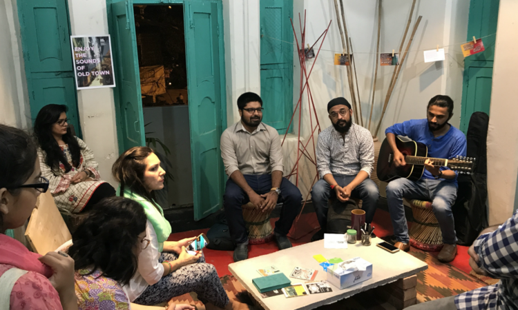 Artists have a jamming session in one of the meeting rooms in the community centre. Photos By Yusra Jabeen