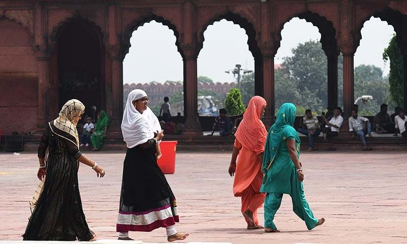 Indian Muslim women visit the Jama Masjid mosque in New Delhi on August 22.— AFP/File