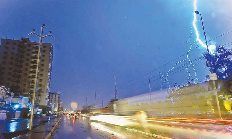 LIGHTNING as seen from Shahrah-i-Pakistan on Tuesday evening.—Fahim Siddiqi / White Star