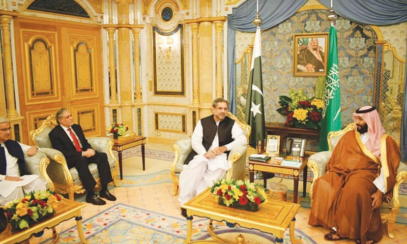 JEDDAH: Prime Minister Shahid Khaqan Abbasi meets Saudi Crown Prince Muhammad bin Salman on Wednes­day. He was accompanied by Finance Minister Senator Ishaq Dar and Foreign Minister Khawaja Asif.—PPI