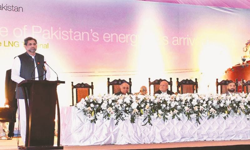 KARACHI: Prime Minister Shahid Khaqan Abbasi speaks at the inauguration ceremony of the first LNG terminal at Port Qasim.—APP