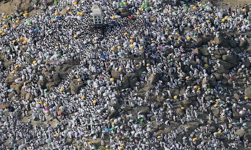 An aerial view shows Muslim pilgrims gathering on Mount Arafat, also known as Jabal al-Rahma on Arafat Day.—AFP