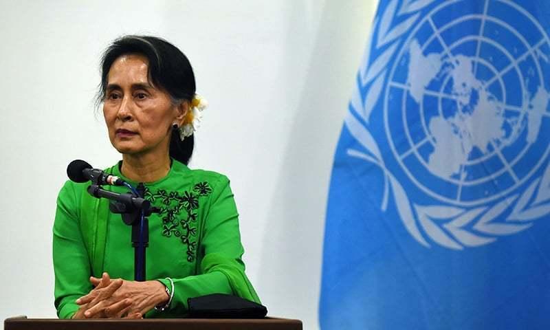 میانمار کی جمہوریت پسند رہنما آنگ سان سوچی کو روہنگیا بحران پر عالمی برادری کے شدید دباؤ کا سامنا ہے—۔فوٹو / اے ایف پی