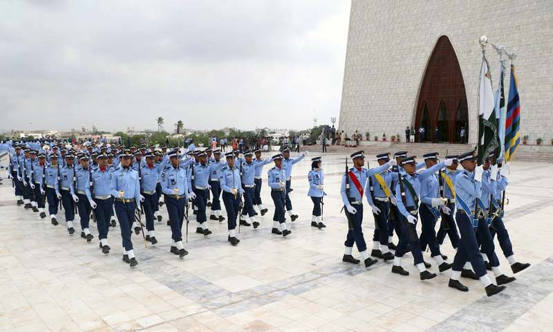 PAF cadets march at Quaid's mausoleum during Change of Guards ceremony to mark the Defence Day. —Online