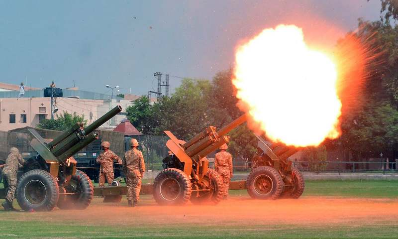 Artillery personnel fire cannon during an event to mark the Defence Day, at Fortress Stadium in Lahore. —Online