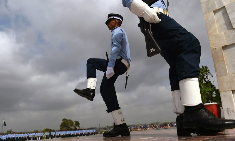 PAF cadets guard at the mausoleum of the country's founder Mohammad Ali Jinnah to mark the country's Defence Day in Karachi. —AFP