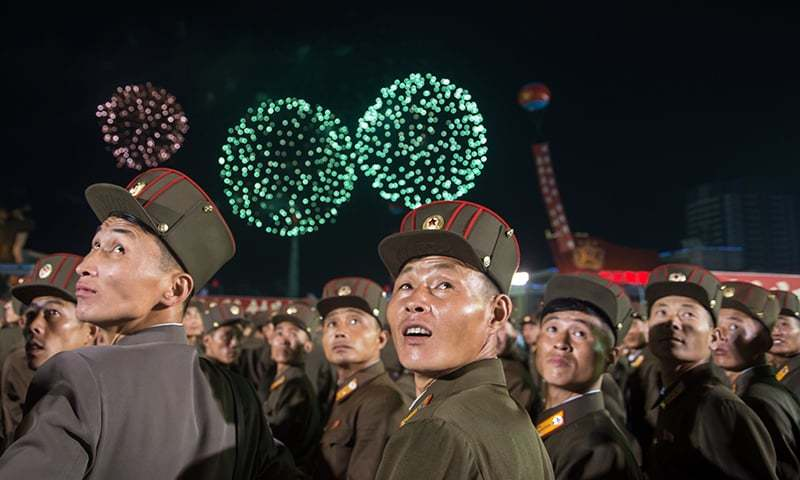 Korean People's Army (KPA) soldiers cheer while watching fireworks during