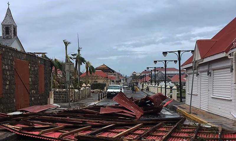 Wreckage in a street of Gustavia on the French overseas collectivity of Saint-Barthelemy in the Caribbean following hurricane Irma. — AFP