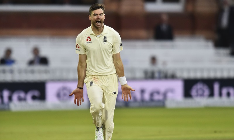England's James Anderson celebrates taking the wicket of West Indies' Kieran Powell for 45 runs during the second day of the third international Test match between England and West Indies at Lords cricket ground in London on September 8, 2017. —AFP