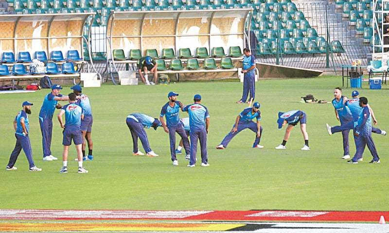 LAHORE: Members of the ICC World Xi Squad take part in a training session at the Gaddafi Station on Monday.— Online