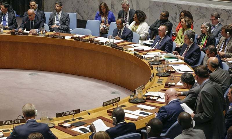اقوامِ متحدہ کے ہیڈ کوارٹر میں سیکیورٹی کونسل کے ممبران اجلاس میں شریک ہیں — فوٹو / اے ایف پی