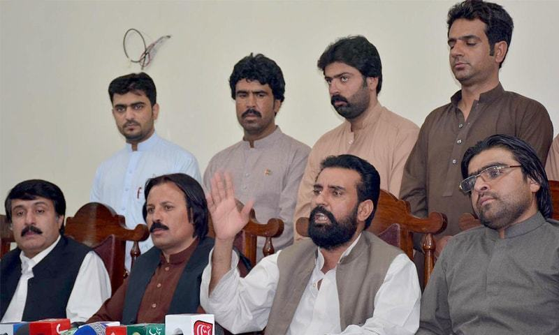 PPP Balochistan president Haji Ali Madad Jattak addresses a press conference in this file photo.—INP/File