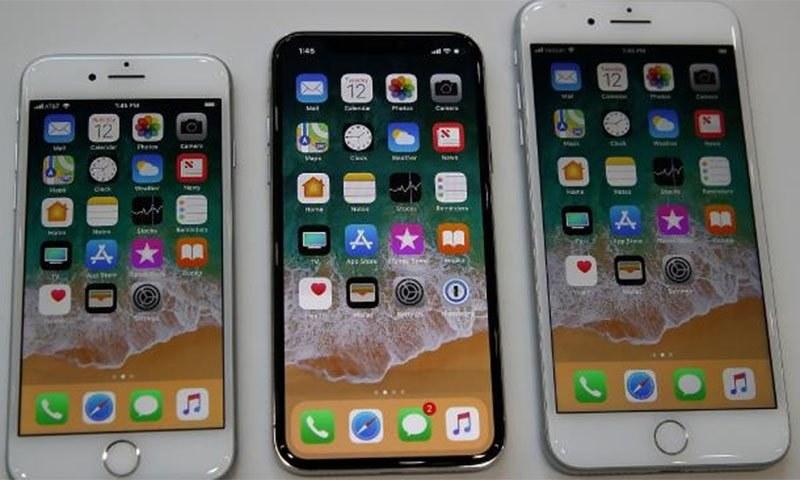 آئی فون 8، آئی فون 8 پلس اور آئی فون ایکس— اے ایف پی فوٹو