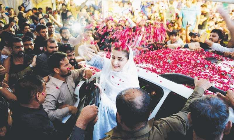 Maryam Nawaz arrives in Mozang for the election campaign of her mother, Kulsoom Nawaz, in the NA-120 constituency.— Murtaza Ali/White Star
