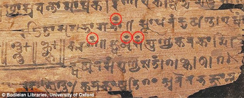 AN image of the ancient scroll shows the black dots denoting zeroes.