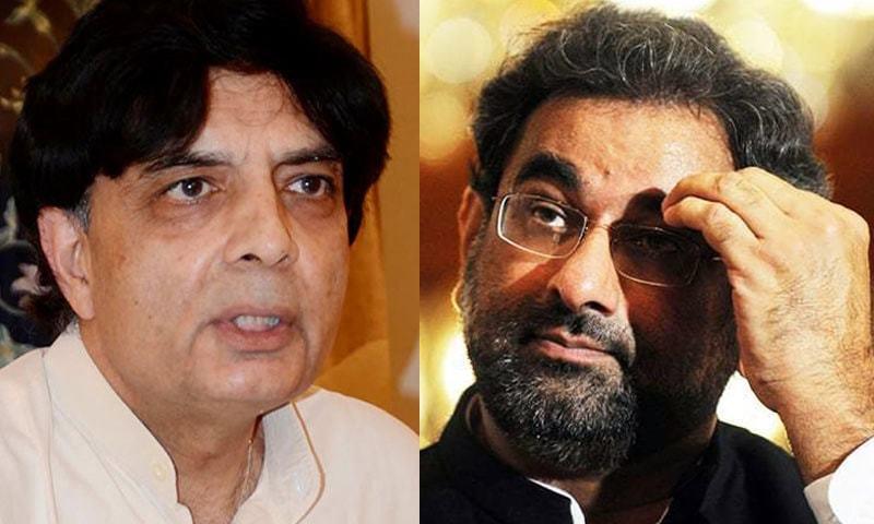 Former interior minister Chaudhry Nisar Ali Khan (L) and Prime Minister Shahid Khaqan Abbasi.— AFP/File