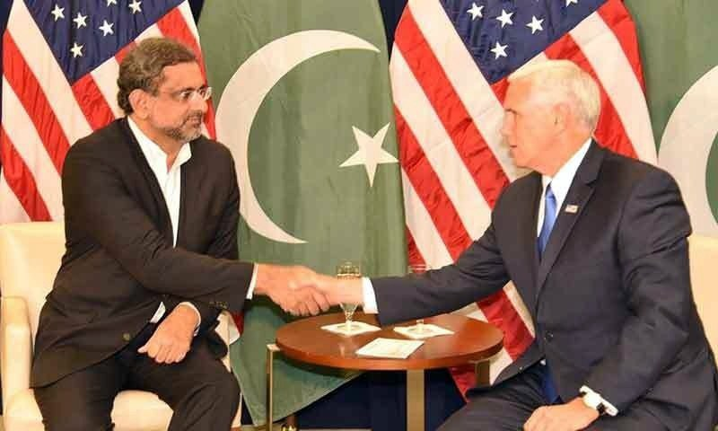 PM Abbasi meets US Vice President Mike Pence.— Prime Minister's Office