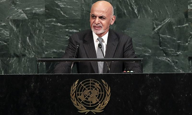Ashraf Ghani, president of Afghanistan, addresses the United Nations General Assembly at UN headquarters on Tuesday in New York City.— AFP