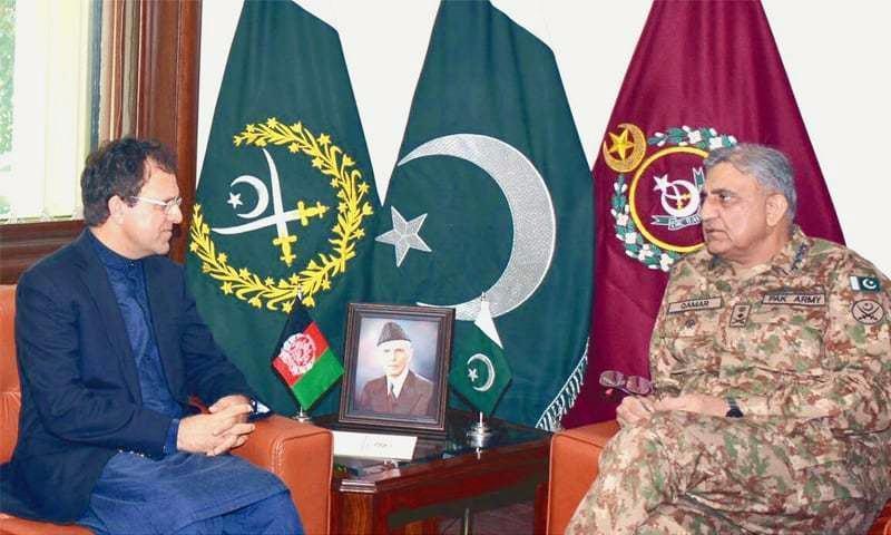 RAWALPINDI: Afghanistan's Ambassador to Pakistan Omar Zakhilwal calls on Chief of the Army Staff Gen Qamar Javed Bajwa at GHQ on Wednesday.—INP