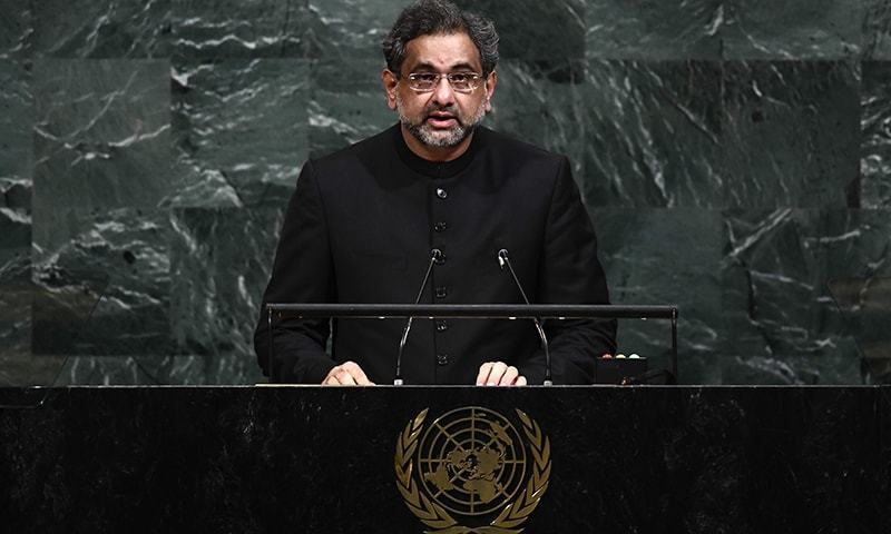 Prime Minister Shahid Khaqan Abbasi addresses the 72nd Session of the United Nations General assembly at the UN headquarters in New York on September 21.— AFP