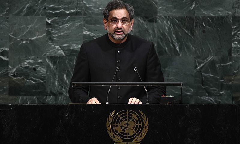 شاہد خاقان عباسی نے اقوامِ متحدہ کی جنرل اسمبلی سے خطاب میں متعدد اہم امور کا تذکرہ کیا—فوٹو: اے ایف پی